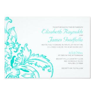 Turquoise Flourish Wedding Invitations Invitations