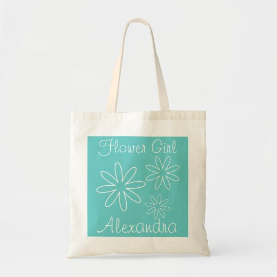Turquoise flower girl tote bag | Personalised name
