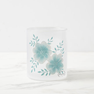 Turquoise Flower Frosted Glass Mug