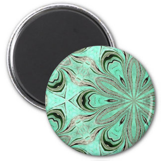 Turquoise flower pattern (K361) 6 Cm Round Magnet