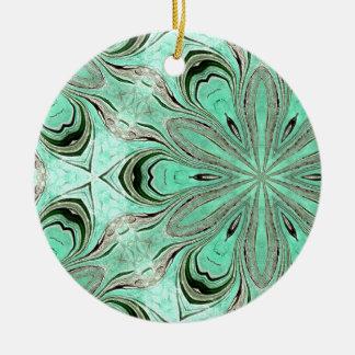 Turquoise flower pattern (K361) Round Ceramic Decoration