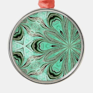 Turquoise flower pattern (K361) Silver-Colored Round Decoration
