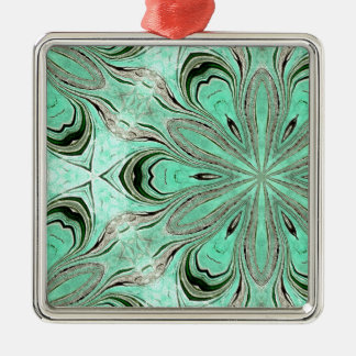Turquoise flower pattern (K361) Silver-Colored Square Decoration
