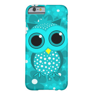 turquoise flowers and cute owl barely there iPhone 6 case