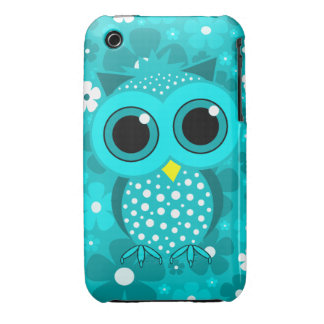 turquoise flowers and cute owl iPhone 3 Case-Mate case