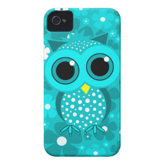 turquoise flowers and cute owl iPhone 4 cover