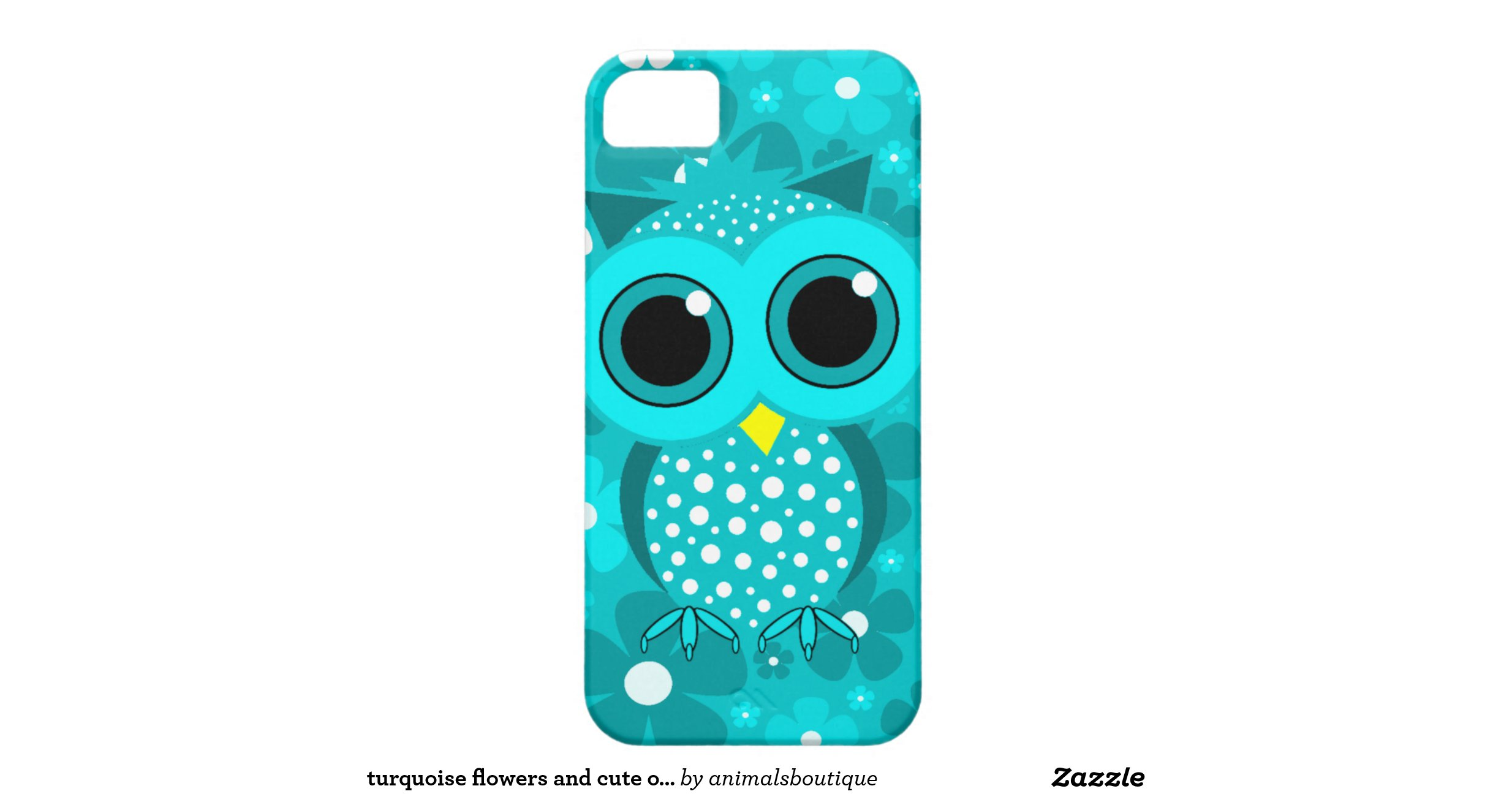 Turquoise Flowers And Cute Owl Iphone 5 Case Zazzle
