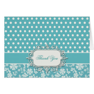 Turquoise Flowers and Polka Dots Greeting Card