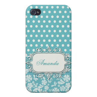 Turquoise Flowers and Polka Dots Covers For iPhone 4