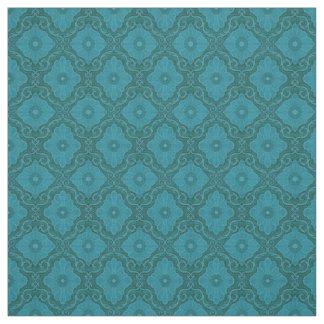 """""""Turquoise flowers"""" floral arabesque pattern Fabric"""