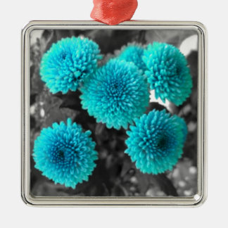 Turquoise Flowers Silver-Colored Square Decoration