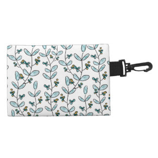 Turquoise Flowers & Vines Accessory Case Accessory Bag