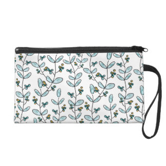 Turquoise Flowers & Vines Accessory Case Wristlet