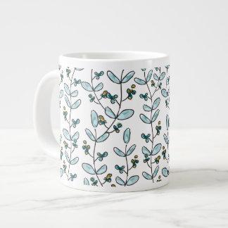 Turquoise Flowers & Vines Coffee Mug Jumbo Mug