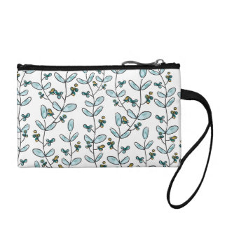 Turquoise Flowers & Vines Key Coin Clutch Coin Purses