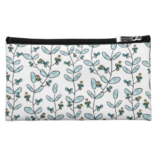 Turquoise Flowers & Vines Medium Makeup Case Cosmetic Bags