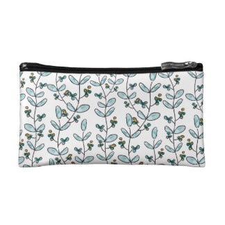 Turquoise Flowers & Vines Small Makeup Case Cosmetic Bag