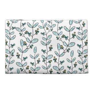 Turquoise Flowers & Vines Travel Accessory Pouch Travel Accessory Bag