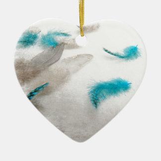 Turquoise Fluff Ceramic Heart Decoration