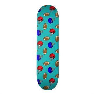 Turquoise footballs helmets pattern skateboard