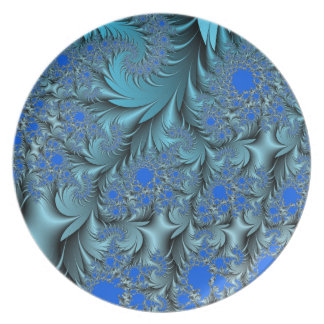 Turquoise Fractal Plate
