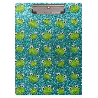Turquoise frog head glitter pattern clipboard
