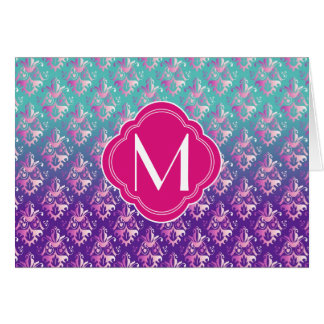 Turquoise Fuchsia and Purple Damask with Monogram Greeting Card