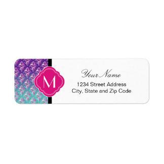 Turquoise Fuchsia and Purple Damask with Monogram Return Address Label