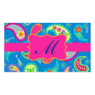 Turquoise Fuchsia Pink Modern Paisley Monogram Pack Of Standard Business Cards