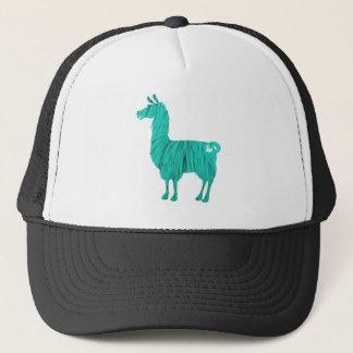 Turquoise Furry Llama Cap