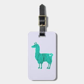 Turquoise Furry Llama Luggage Tag