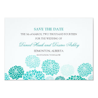 Turquoise Garden Wedding SAVE THE DATE 9 Cm X 13 Cm Invitation Card
