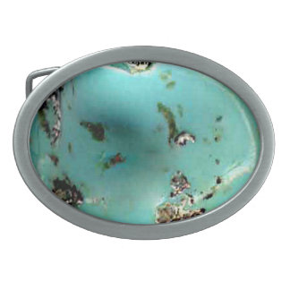 Turquoise Gemstone Image Oval Belt Buckle