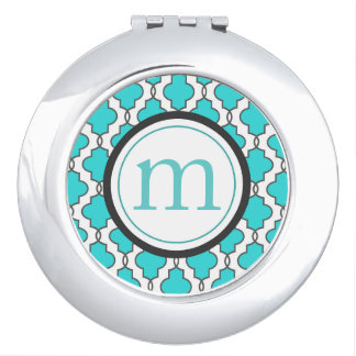 Turquoise Geometric Compact Mirror with Monogram