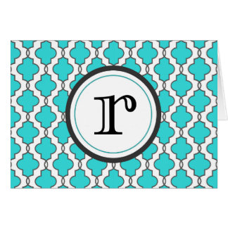 Turquoise Geometric Ornate Notecard with Monogram