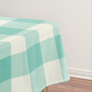 Turquoise Gingham / Buffalo Check Tablecloth