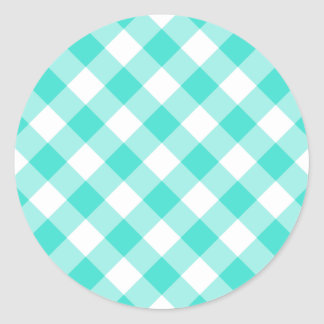 Turquoise Gingham Pattern Classic Round Sticker