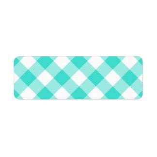 Turquoise Gingham Pattern Return Address Label