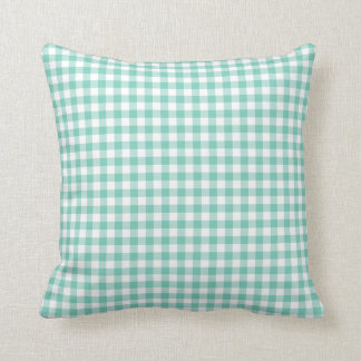 Turquoise Gingham Pattern Throw Pillow