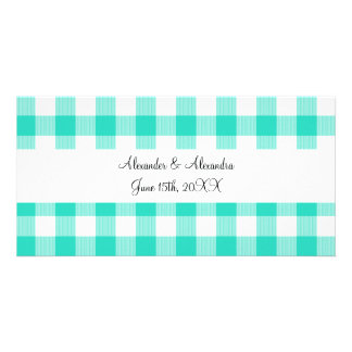 Turquoise gingham pattern wedding favors photo cards