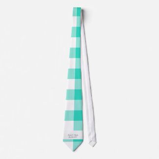 Turquoise gingham pattern wedding favors tie