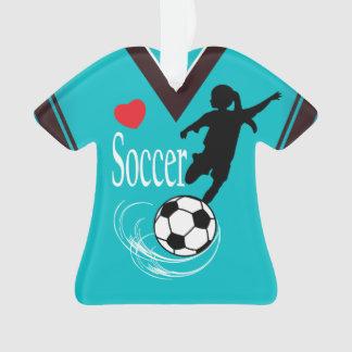Turquoise Girl Soccer Ball Shirt Ornament