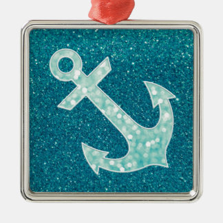 Turquoise glitter and Aqua Bokeh Anchor Christmas Ornament