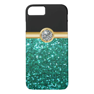Turquoise Glitter Bling iPhone 8/7 Case