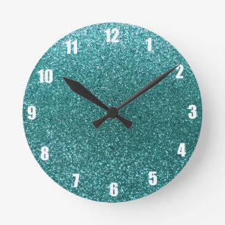 Turquoise glitter round wallclock