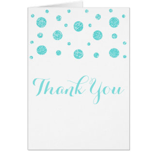 Turquoise Glitter Confetti Thank You Card