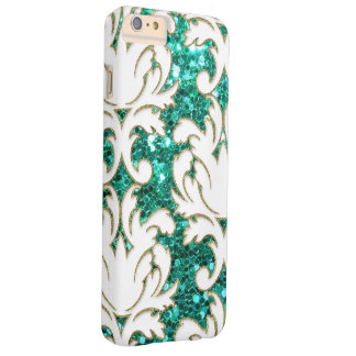 Turquoise Glitter Damask Barely There iPhone 6 Plus Case