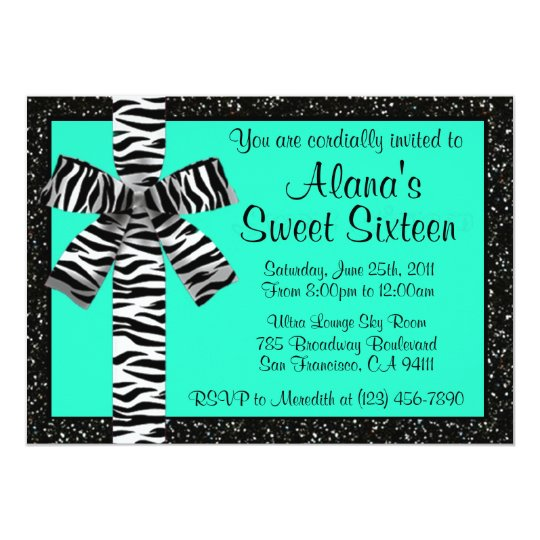 Turquoise Glitter Invite With Zebra Print Bow