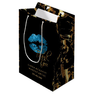 Turquoise Glitter Lips and Gold Marble - Thank You Medium Gift Bag