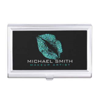 Turquoise Glitter Lips Business Card Holder